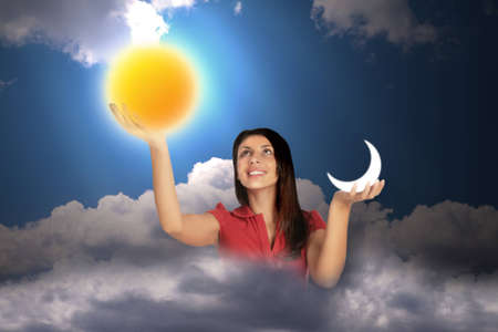 woman in sky with clouds holds moon and sun in hands, collage photo