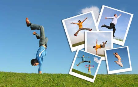 Jumping man in grass and photographs of the people , collage   photo