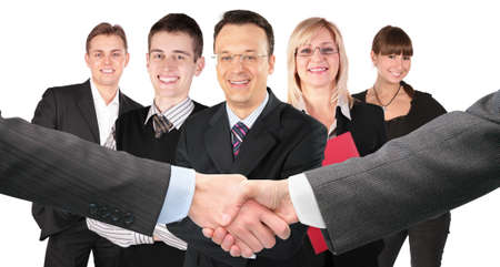 sales lady: shaking hands with wrists and five business group collage