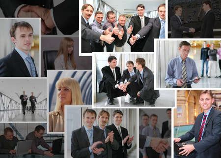 Collection of many business photos with people, collage photo