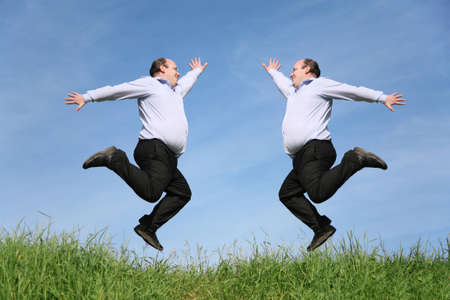 identical: jumping fat twins on grass collage