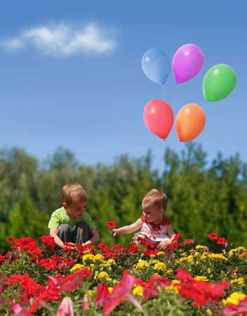 flowers boy: children with flowers and balloons collage Stock Photo