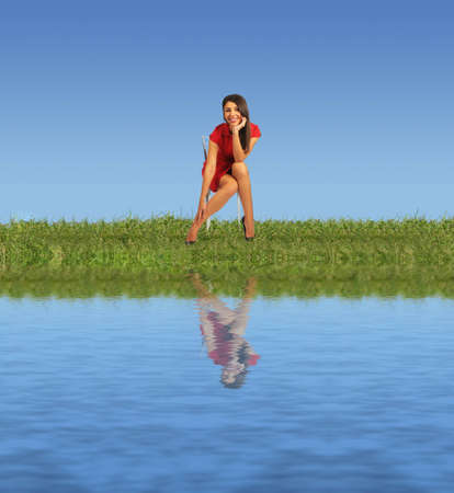 woman in red clothes sitting on chair on grass near water collage photo