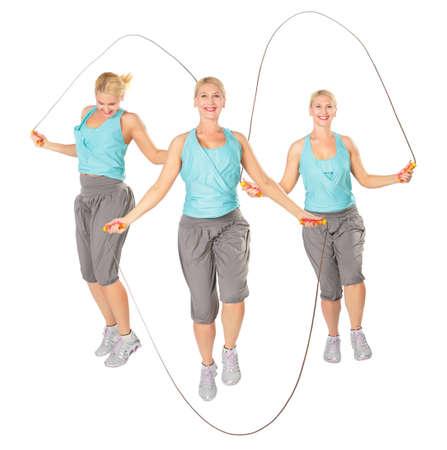 ejercicio aer�bico: Tres mujeres con una cuerda saltando, collage