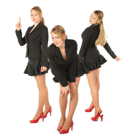 adolescence: Three young girl in suit, collage  Stock Photo