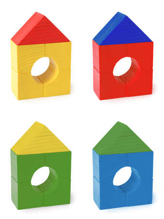 multi color wood toy houses photo