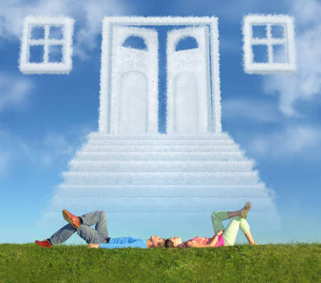 lying couple on grass and dream door way collage Stock Photo - 9113133
