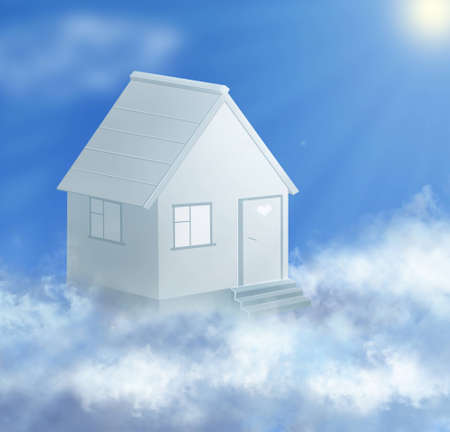 dream house and cloud with sun collage photo