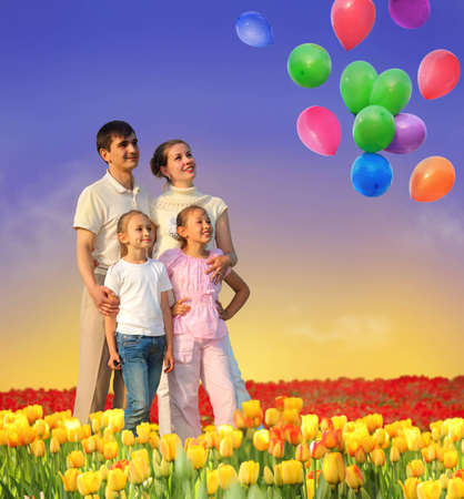 family of four in tulip field and balloons collage photo