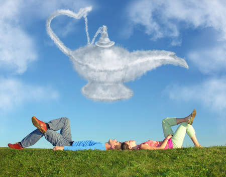 aladdin: lying couple on grass and dream alladin lamp cloud collage