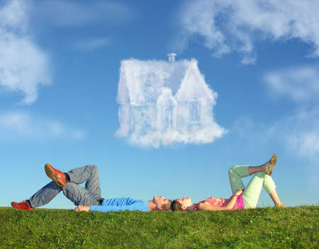 dream house: lying couple on grass and dream house collage