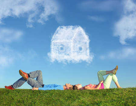 woman laying: lying couple on grass and dream house collage