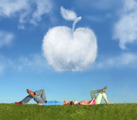 lying couple on grass and dream apple collage photo