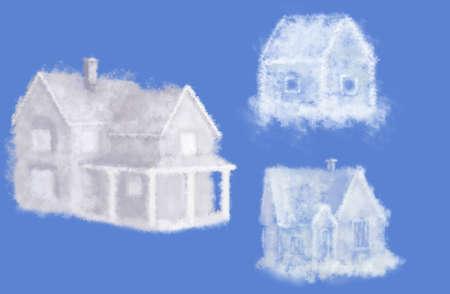 three cloud dream houses collage photo