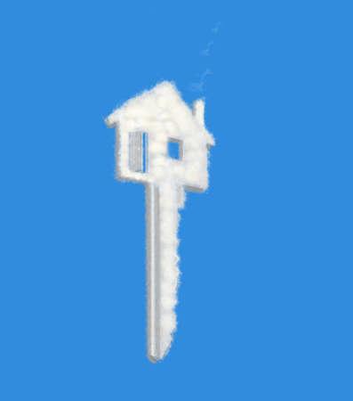 house key dream cloud on blue Stock Photo - 8958854