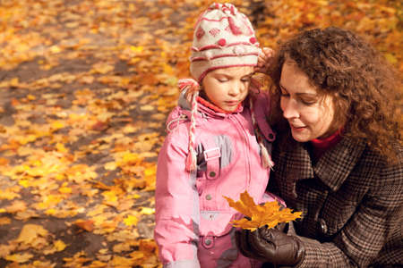 Woman with daughter and collect maple leaves in autumnal park photo