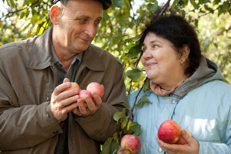 Old man and old woman hold apples and look against each other photo