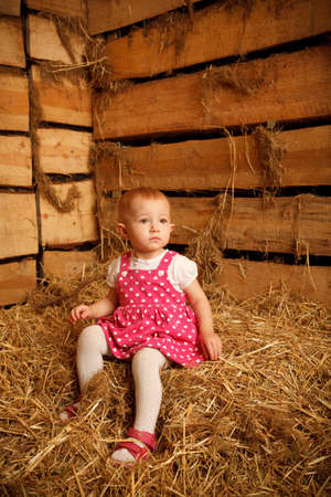 hayloft: Little girl is sitting on pile of straw in hayloft against the wall of boards. Vertical format.
