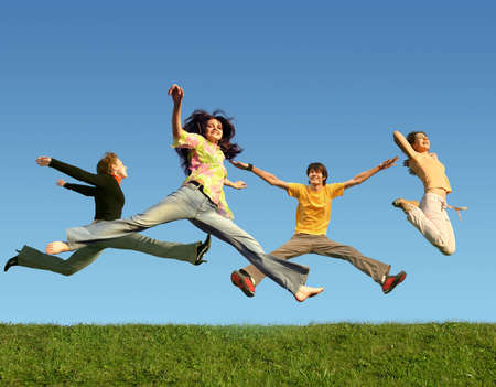 mirth: many people jumping on the grass, collage