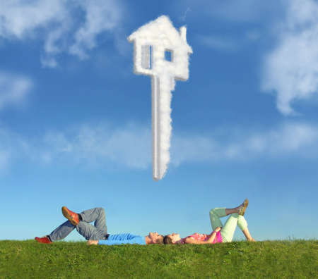keys to heaven: lying couple on grass and dream house key collage