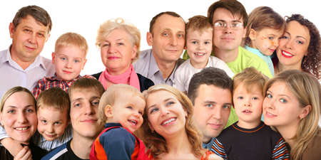 grandfather and grandmother: many faces family with children, collage Stock Photo