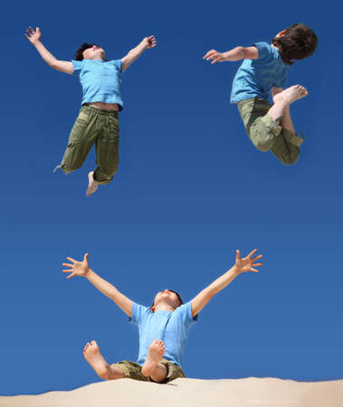3 persons: jumping boys on blue sky, sitting boy with hands and legs up on sand beach, collage
