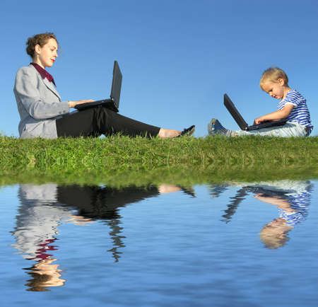 woman work: businesswoman and child sit with notebooks on blue sky, reflection, collage