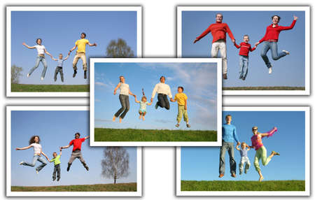 many photos with jumping families, collage           photo
