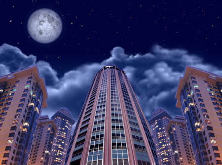 night buildings on sky and moon, collage photo