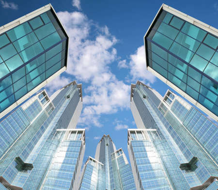 many skyscrapers on sky background, collage photo