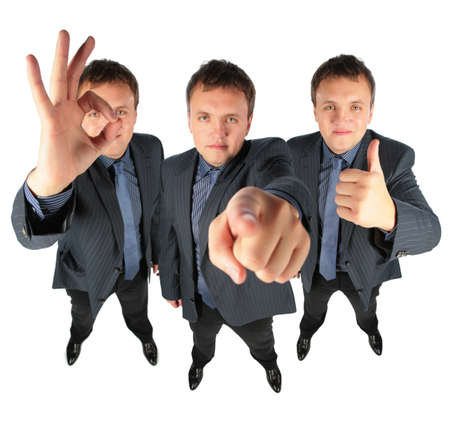 Three businessmen, two with ok gesture and one showing to you, collage photo