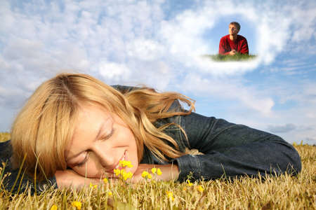 young woman lies on the grass and boy in dream cloud collage Stock Photo - 9257385