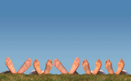 bare women: many legs on grass collage Stock Photo