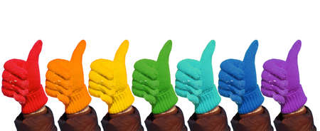 Hands in rainbow gloves show gesture ok on white, collage Stock Photo - 9110451