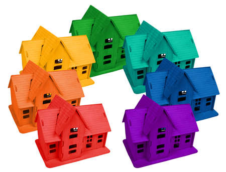 Model of houses in colors of rainbow, collage Stock Photo - 9265017