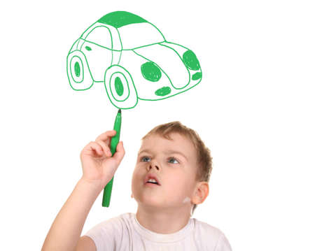 child drawing his car, collage photo
