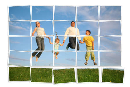 jumping family on grass, collage  photo
