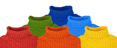 pyramid of multi color rainbow sweaters collage Stock Photo