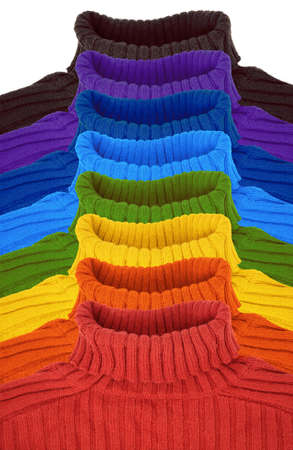group of multi color rainbow sweaters collage photo