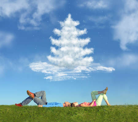 lying couple on grass and dream christmas tree collage photo