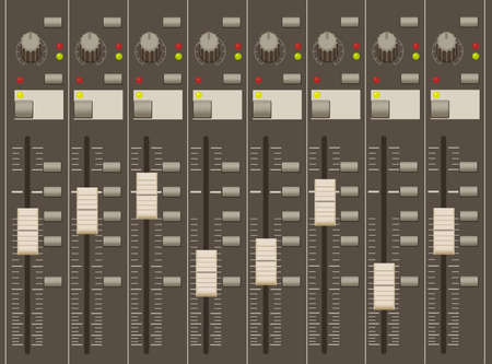 mixing board: sound mixer pult. faders and regulators. eight channels.