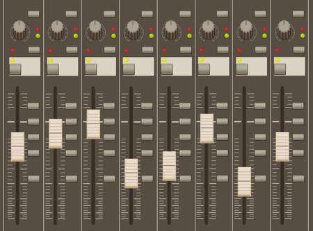regulators: sound mixer pult. faders and regulators. eight channels.