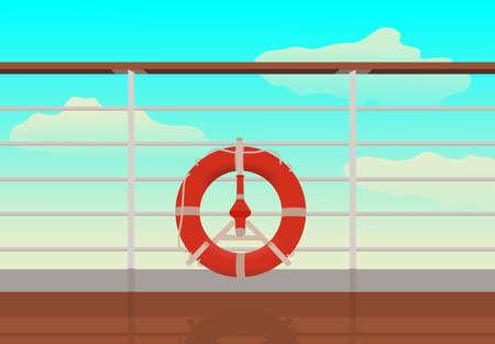 Guardar boya en la cubierta del barco de crucero. reflexión sobre cubierta.