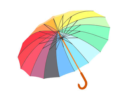 thunderstorms: single colored umbrella is lying on a floor. vector image. isolated.