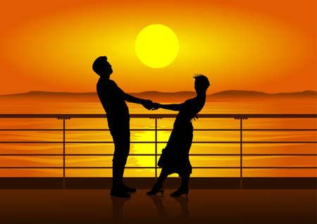 siluetas de hombre y mujer en cubierta de crucero. puesta de sol. Ilustración de vector
