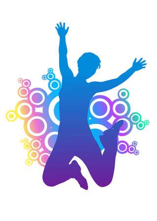 springende mensen: silhouet van de vrouw springen. kleurrijke afgeronde ornament achter silhouet.