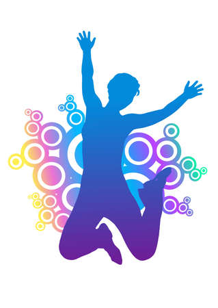 happy healthy woman: silhouette of jumping woman. colorful rounded ornament behind silhouette.