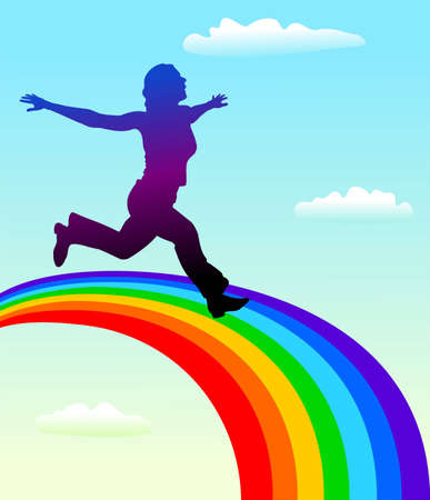woman hands up: silhouette of attractive woman running on colorful rainbow.
