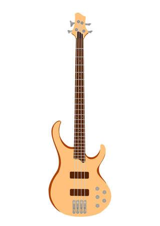 白い背景の上のオレンジ色の専門の電気ギター。分離されました。