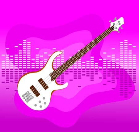 カラフルなイコライザー バーの背景に白の電気ギター。